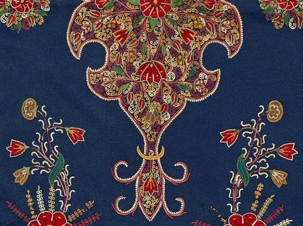 Wandbehang oder Decke (Detail) Iran, Rasht, 1875–1895 Wollflanell, Seidengarn