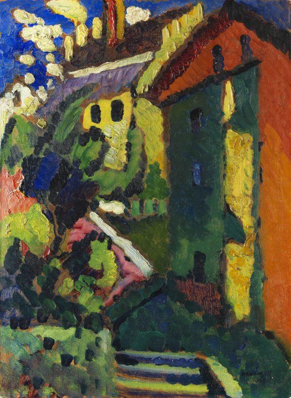 "WASSILY KANDINSKY, ""Treppe zum Schloss"" (Murnau), 1909, Öl auf Malkarton"